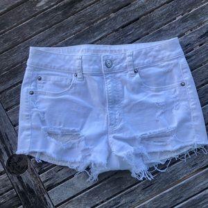 American Eagle White Jean shorts 8